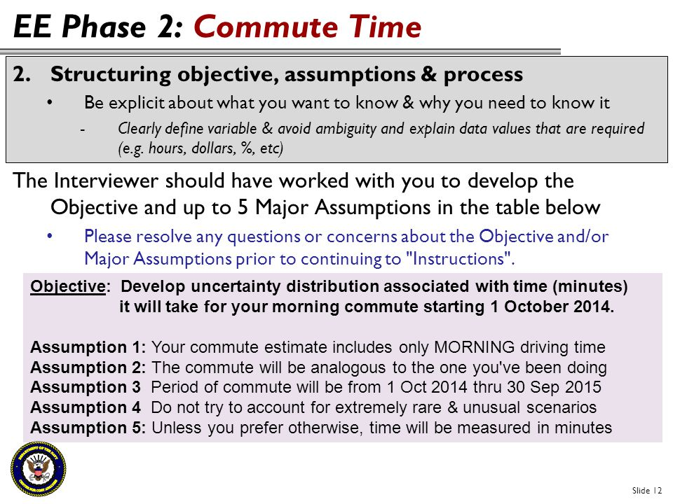 EE Phase 2: Commute Time Slide 12 2.Structuring objective, assumptions & process Be explicit about what you want to know & why you need to know it -Cl