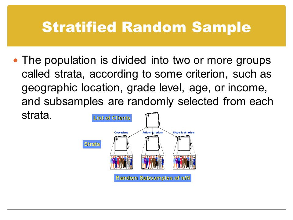Stratified Random Sample The population is divided into two or more groups called strata, according to some criterion, such as geographic location, gr