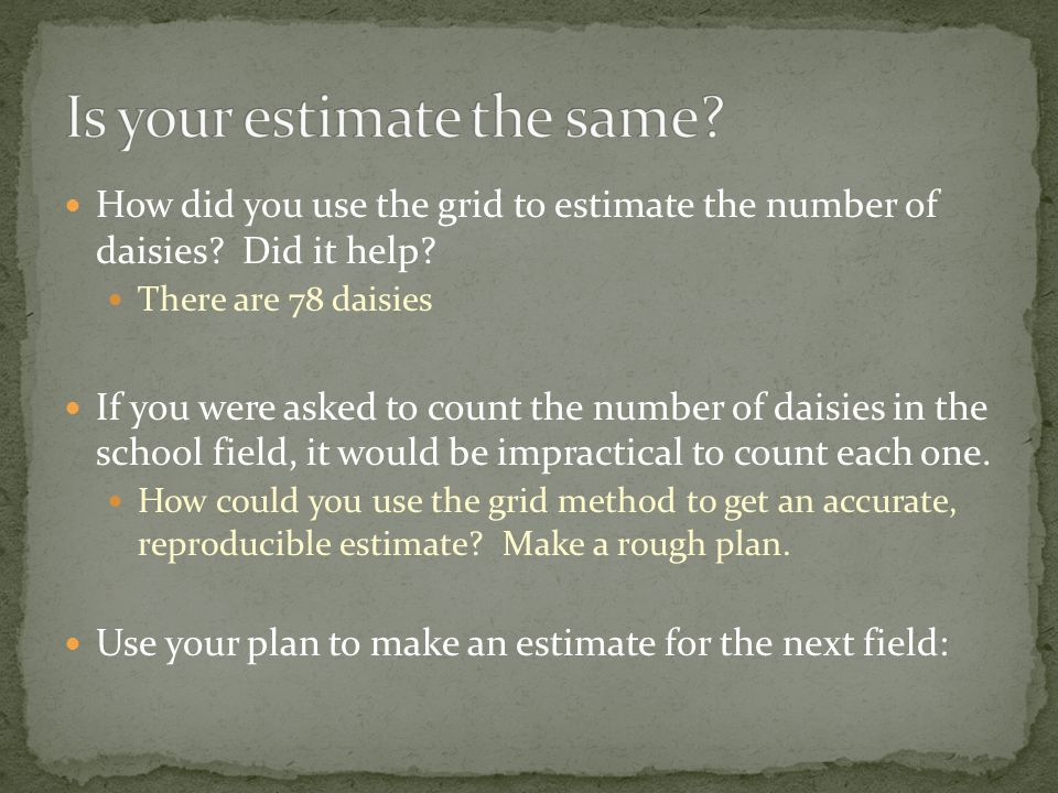 How did you use the grid to estimate the number of daisies.