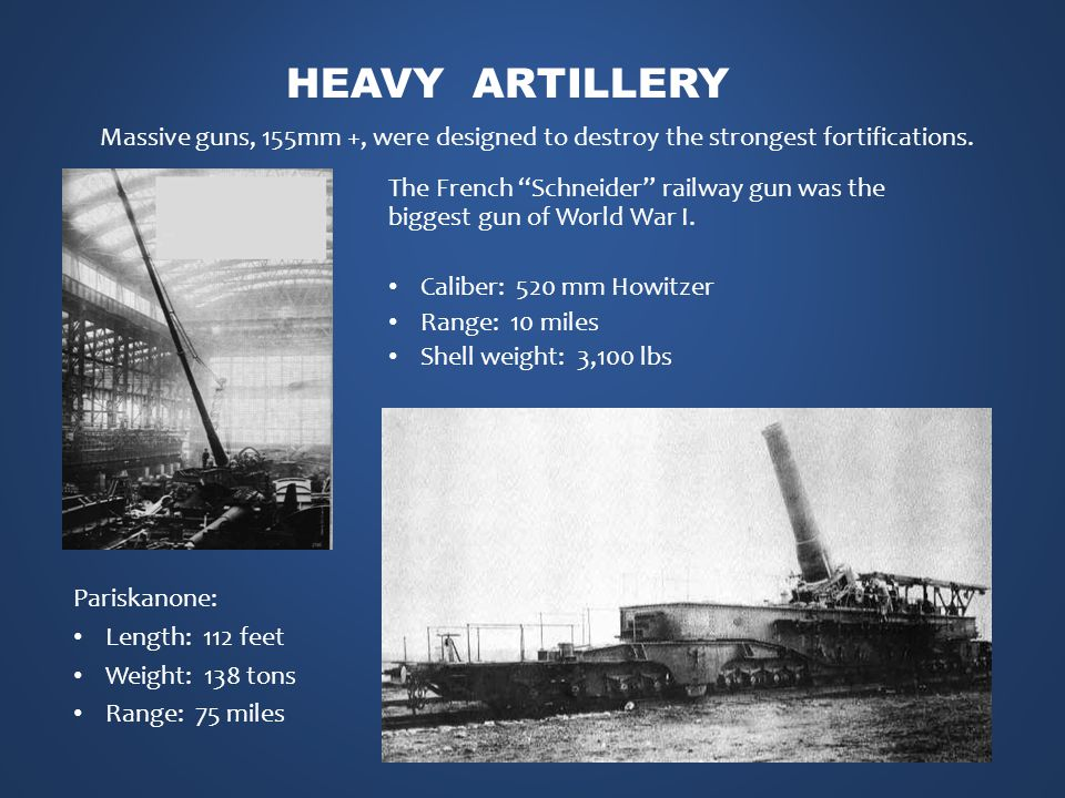HEAVY ARTILLERY Massive guns, 155mm +, were designed to destroy the strongest fortifications.