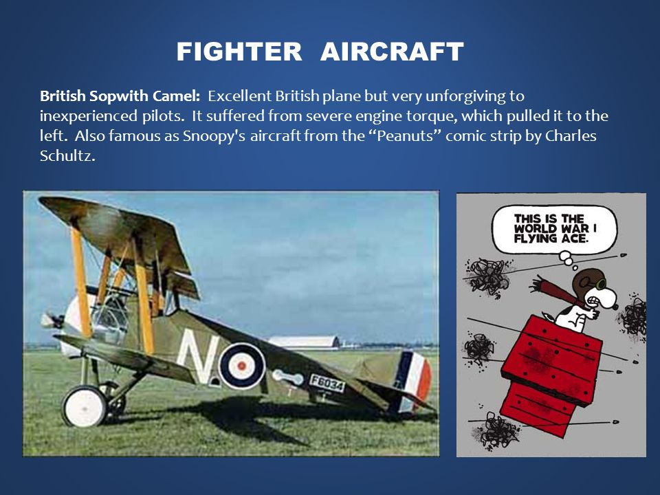 British Sopwith Camel: Excellent British plane but very unforgiving to inexperienced pilots.