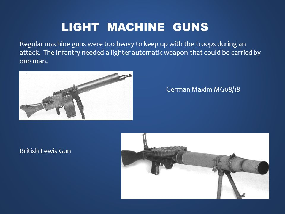 Regular machine guns were too heavy to keep up with the troops during an attack.