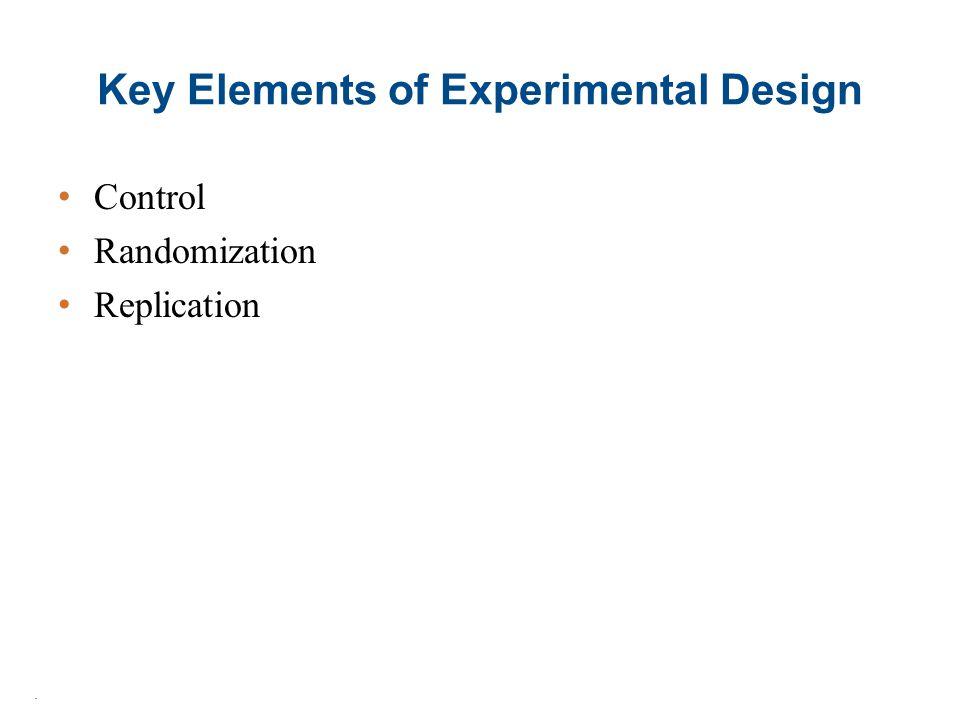 Key Elements of Experimental Design Control Randomization Replication.