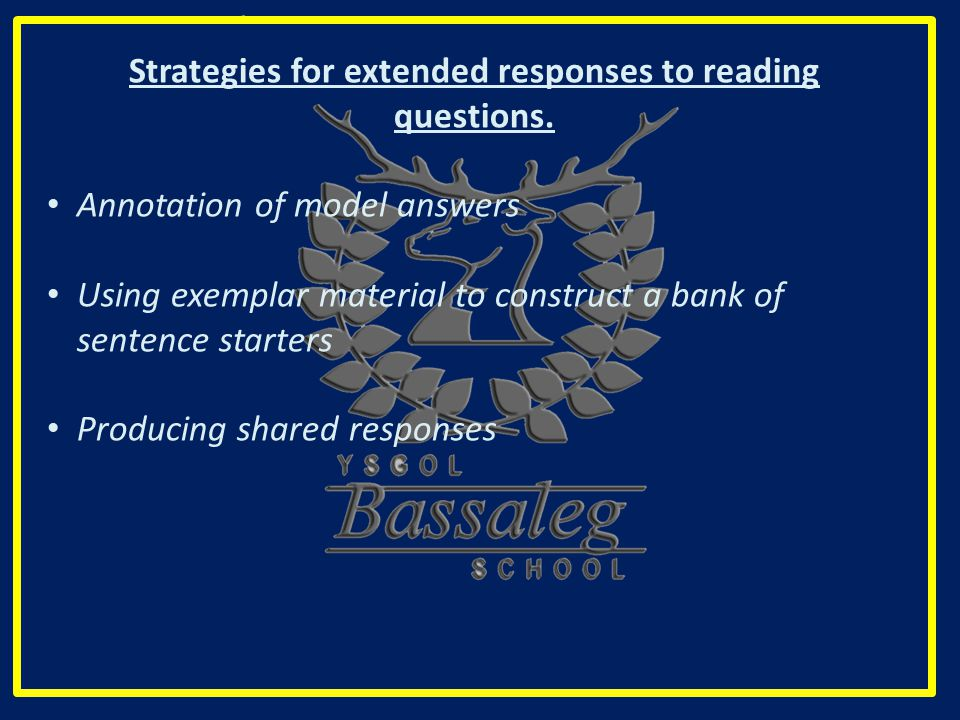 Strategies for extended responses to reading questions.