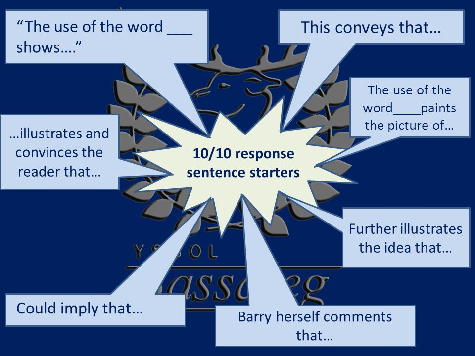 10/10 response sentence starters This conveys that… The use of the word ___ shows…. Could imply that… Barry herself comments that… The use of the word____paints the picture of… …illustrates and convinces the reader that… Further illustrates the idea that…