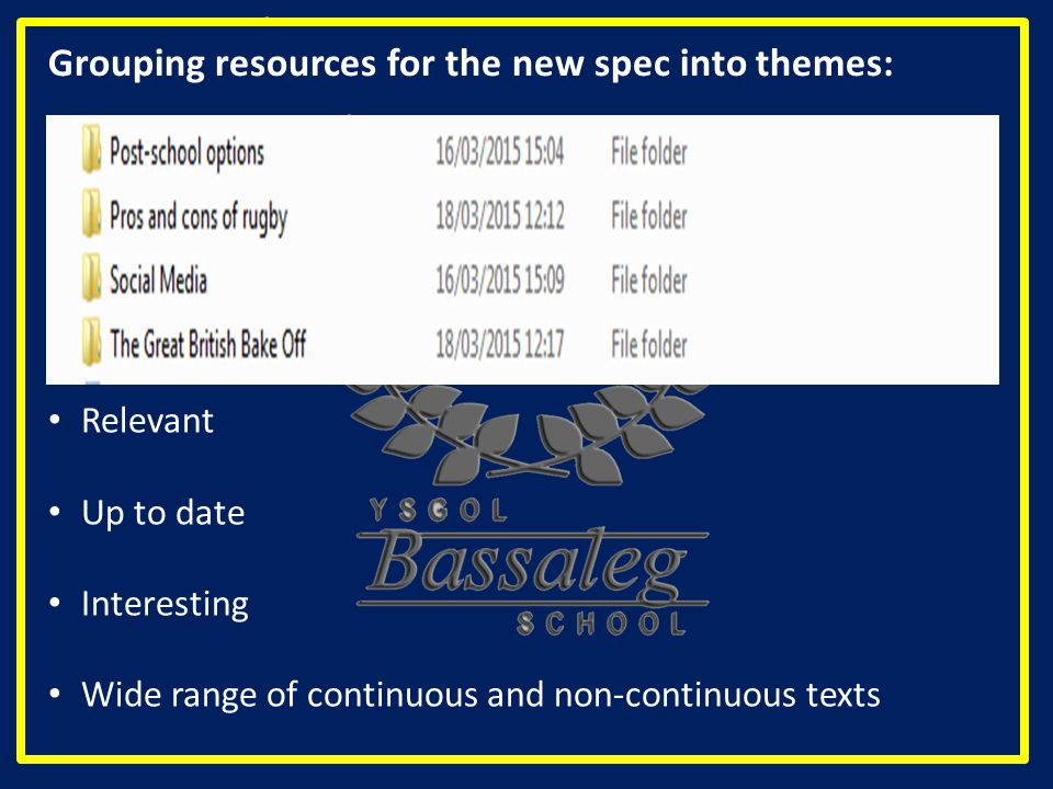 Grouping resources for the new spec into themes: Relevant Up to date Interesting Wide range of continuous and non-continuous texts