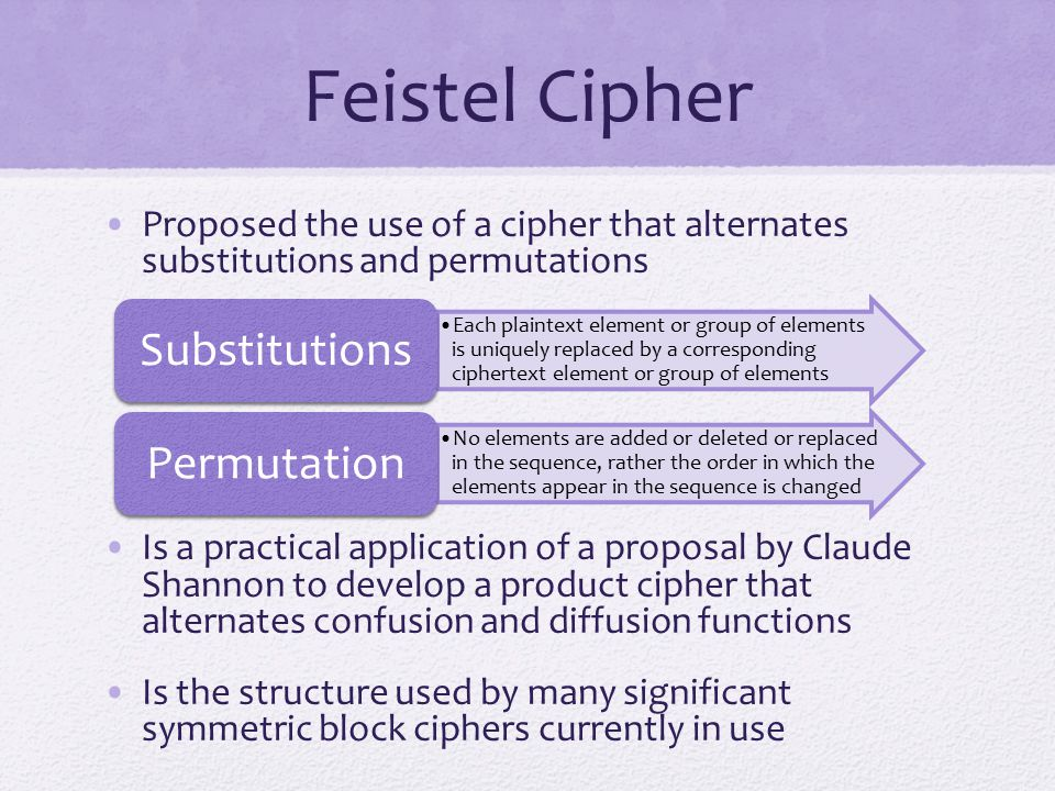 Feistel Cipher Proposed the use of a cipher that alternates substitutions and permutations Is a practical application of a proposal by Claude Shannon