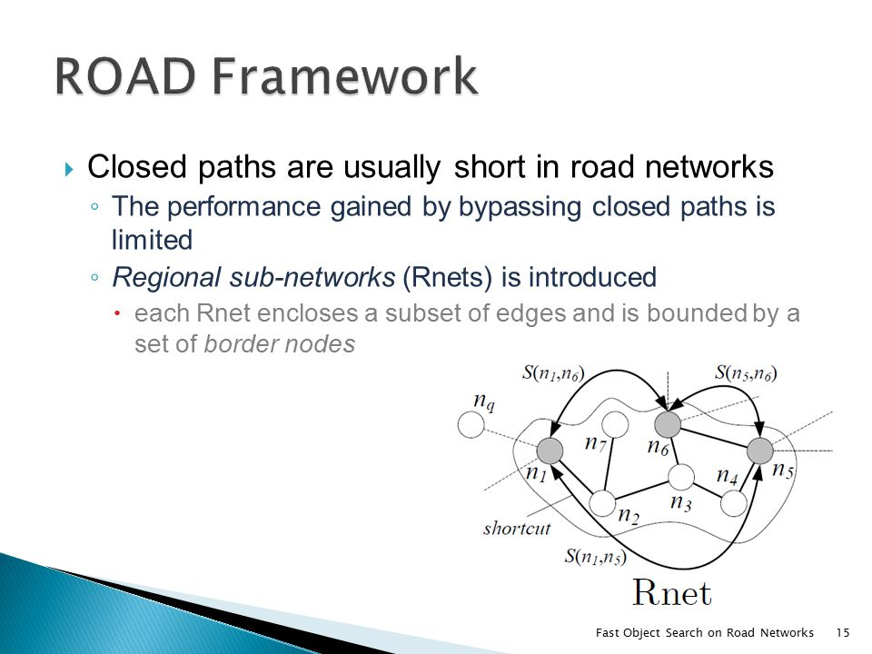  Closed paths are usually short in road networks ◦ The performance gained by bypassing closed paths is limited ◦ Regional sub-networks (Rnets) is introduced  each Rnet encloses a subset of edges and is bounded by a set of border nodes Fast Object Search on Road Networks15