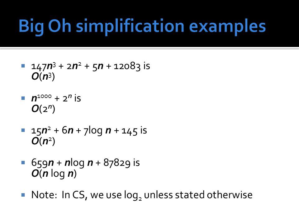  147n 3 + 2n 2 + 5n + 12083 is O(n3)O(n3)  n 1000 + 2 n is O(2 n )  15n 2 + 6n + 7log n + 145 is O(n2)O(n2)  659n + nlog n + 87829 is O(n log n) 