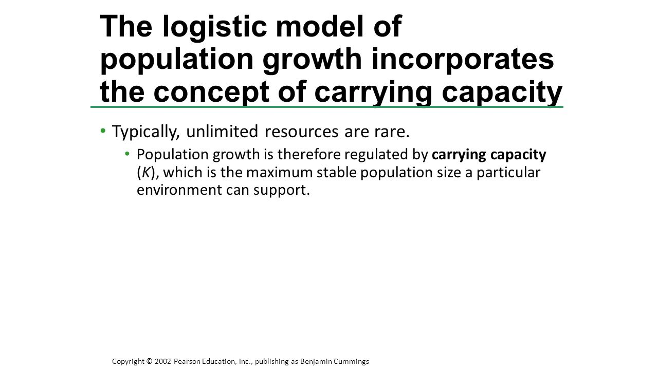 Typically, unlimited resources are rare. Population growth is therefore regulated by carrying capacity (K), which is the maximum stable population siz