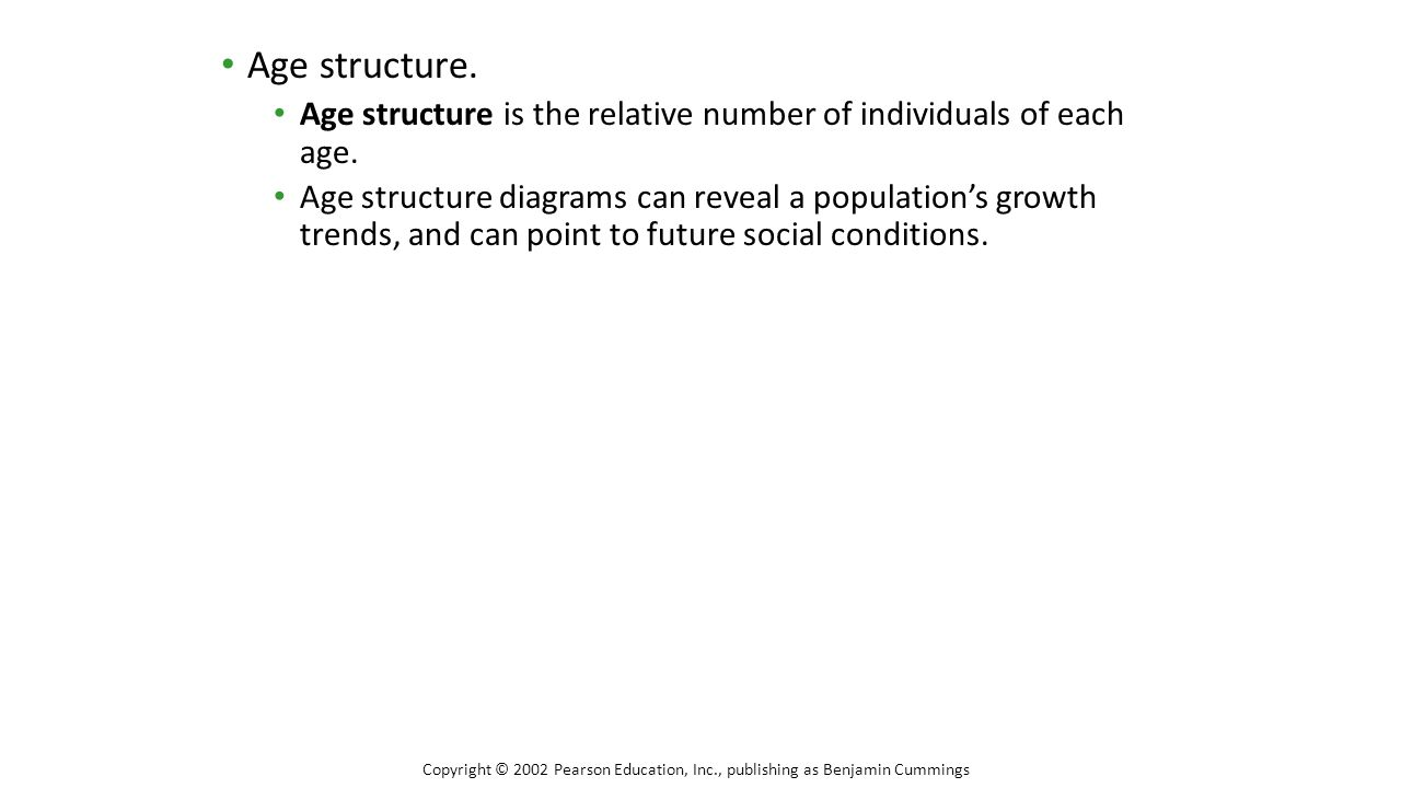 Age structure. Age structure is the relative number of individuals of each age. Age structure diagrams can reveal a population's growth trends, and ca