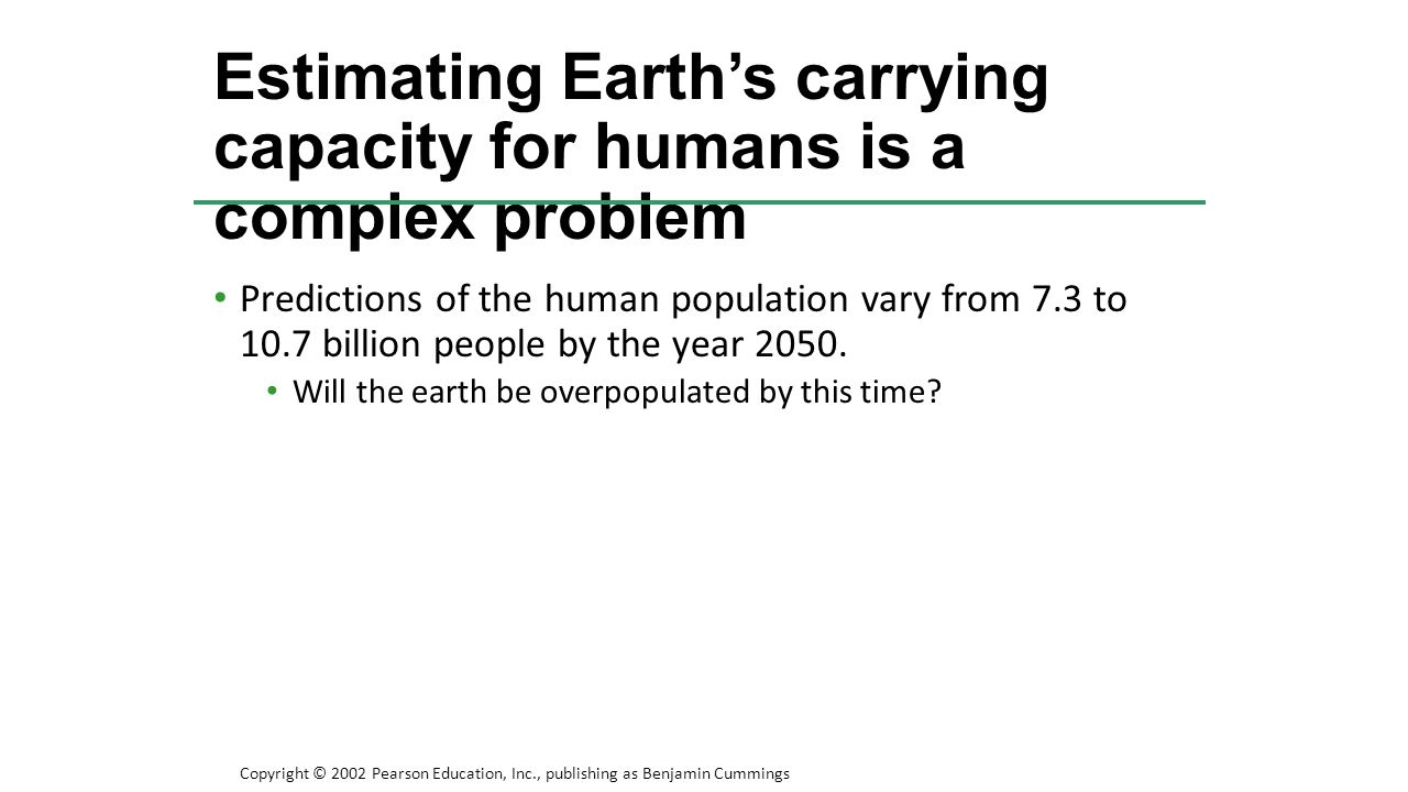Predictions of the human population vary from 7.3 to 10.7 billion people by the year 2050. Will the earth be overpopulated by this time? Estimating Ea