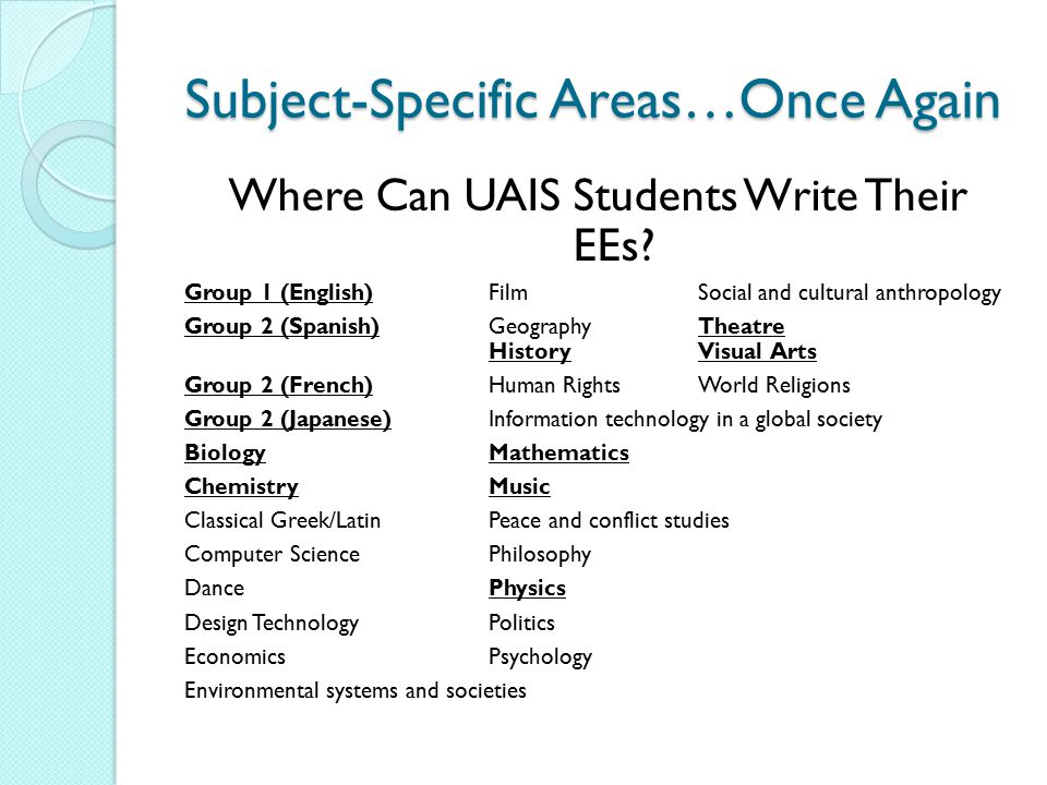 Subject-Specific Areas…Once Again Where Can UAIS Students Write Their EEs? Group 1 (English)FilmSocial and cultural anthropology Group 2 (Spanish)Geog