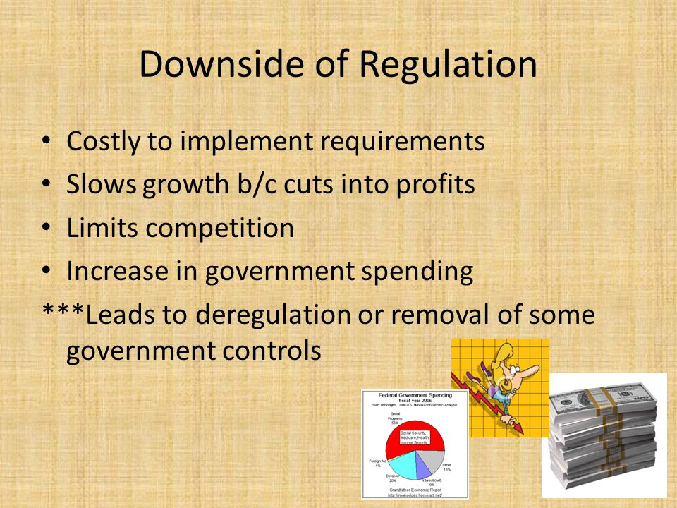 Downside of Regulation Costly to implement requirements Slows growth b/c cuts into profits Limits competition Increase in government spending ***Leads to deregulation or removal of some government controls