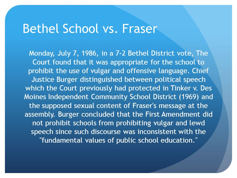 Ask Yourself… Did the principal s deletion of the articles violate the students rights under the First Amendment?