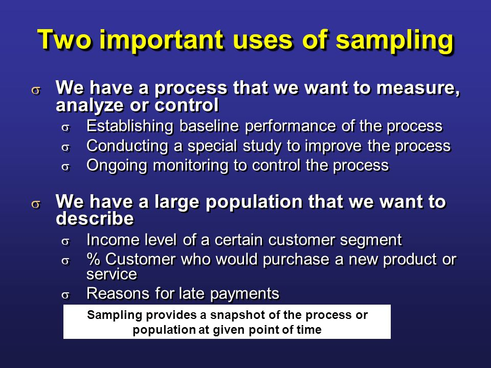 Two important uses of sampling  We have a process that we want to measure, analyze or control  Establishing baseline performance of the process  Conducting a special study to improve the process  Ongoing monitoring to control the process  We have a large population that we want to describe  Income level of a certain customer segment  % Customer who would purchase a new product or service  Reasons for late payments  We have a process that we want to measure, analyze or control  Establishing baseline performance of the process  Conducting a special study to improve the process  Ongoing monitoring to control the process  We have a large population that we want to describe  Income level of a certain customer segment  % Customer who would purchase a new product or service  Reasons for late payments Sampling provides a snapshot of the process or population at given point of time
