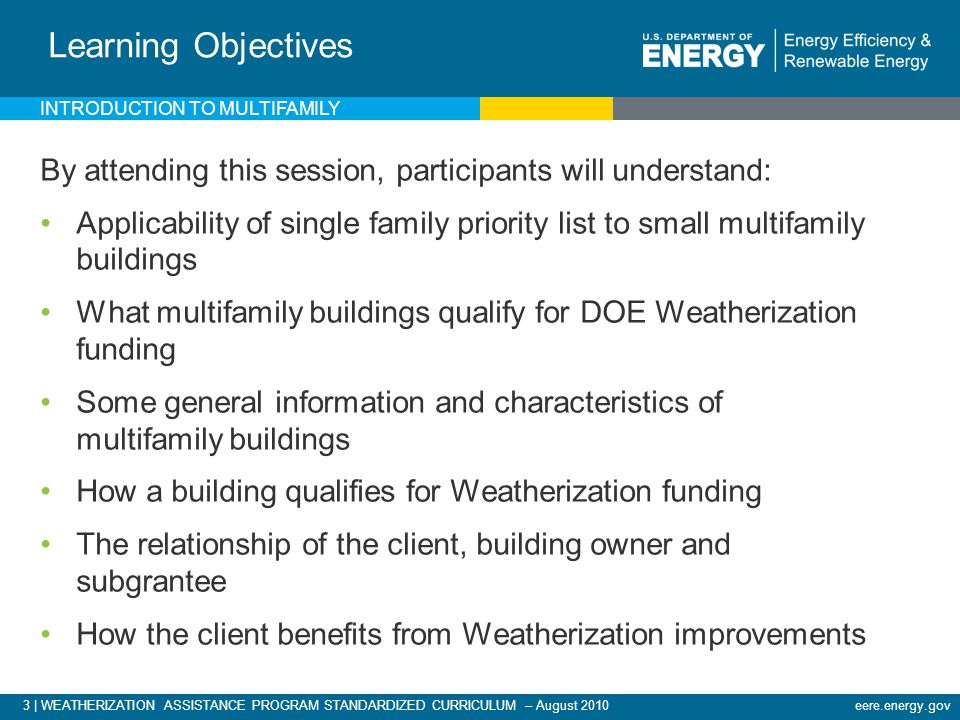 3 | WEATHERIZATION ASSISTANCE PROGRAM STANDARDIZED CURRICULUM – August 2010eere.energy.gov INTRODUCTION TO MULTIFAMILY Learning Objectives By attending this session, participants will understand: Applicability of single family priority list to small multifamily buildings What multifamily buildings qualify for DOE Weatherization funding Some general information and characteristics of multifamily buildings How a building qualifies for Weatherization funding The relationship of the client, building owner and subgrantee How the client benefits from Weatherization improvements