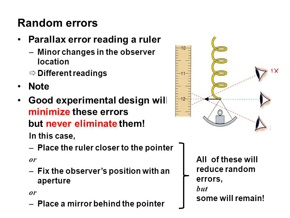 Random errors Parallax error reading a ruler –Minor changes in the observer location  Different readings Note Good experimental design will minimize these errors but never eliminate them.