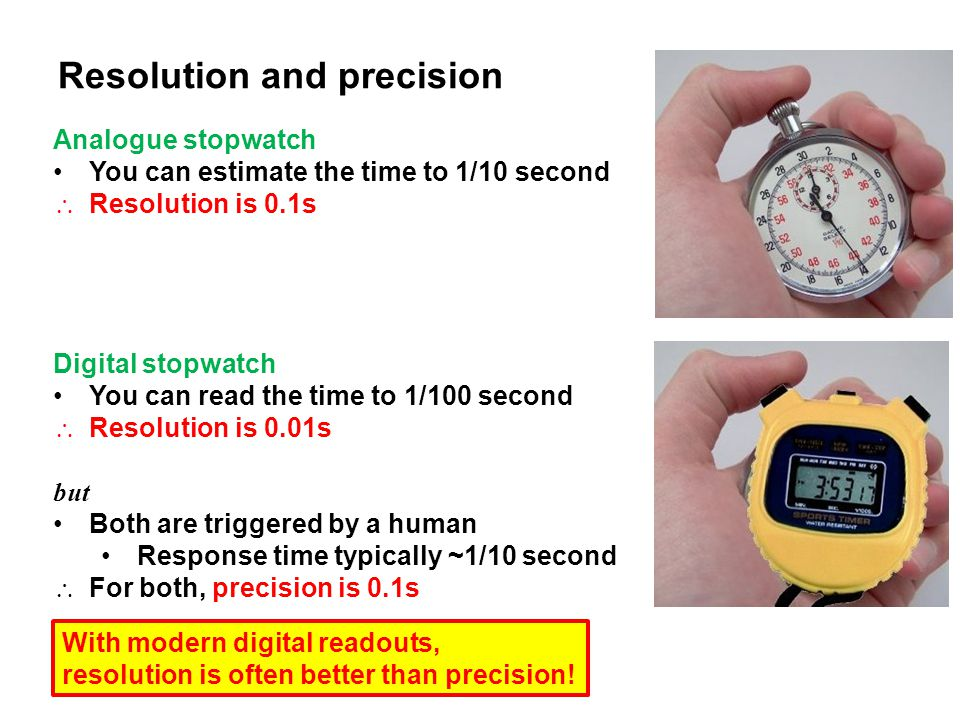 Resolution and precision Analogue stopwatch You can estimate the time to 1/10 second  Resolution is 0.1s Digital stopwatch You can read the time to 1/100 second  Resolution is 0.01s but Both are triggered by a human Response time typically ~1/10 second  For both, precision is 0.1s With modern digital readouts, resolution is often better than precision!