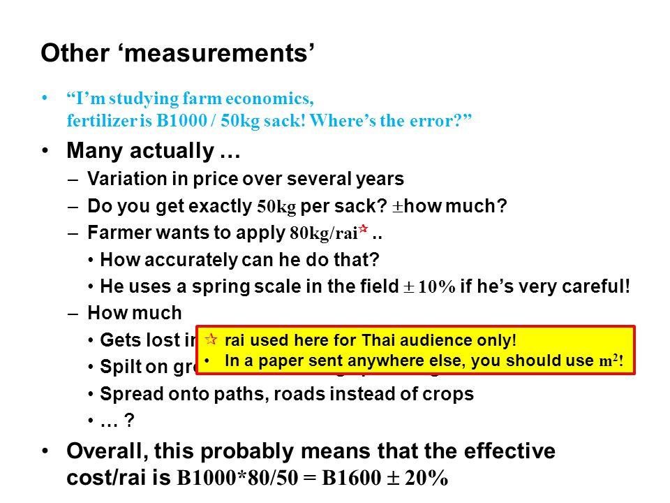 Other 'measurements' I'm studying farm economics, fertilizer is B1000 / 50kg sack.