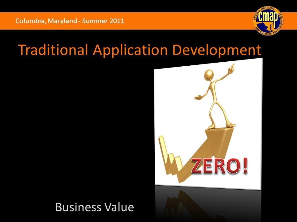 Columbia, Maryland - Summer 2011 Business Value Traditional Application Development