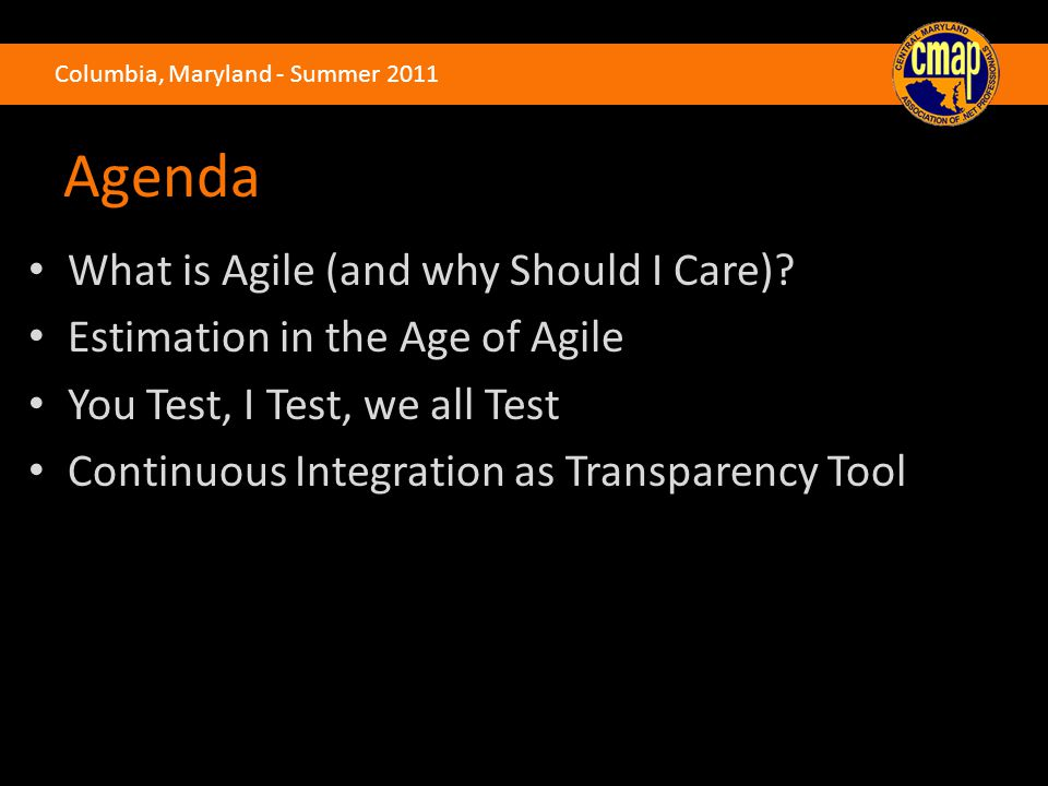 Agenda What is Agile (and why Should I Care).