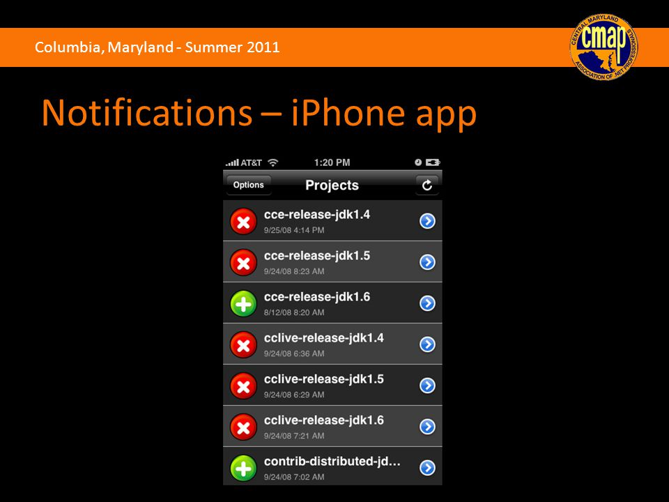 Columbia, Maryland - Summer 2011 Notifications – iPhone app