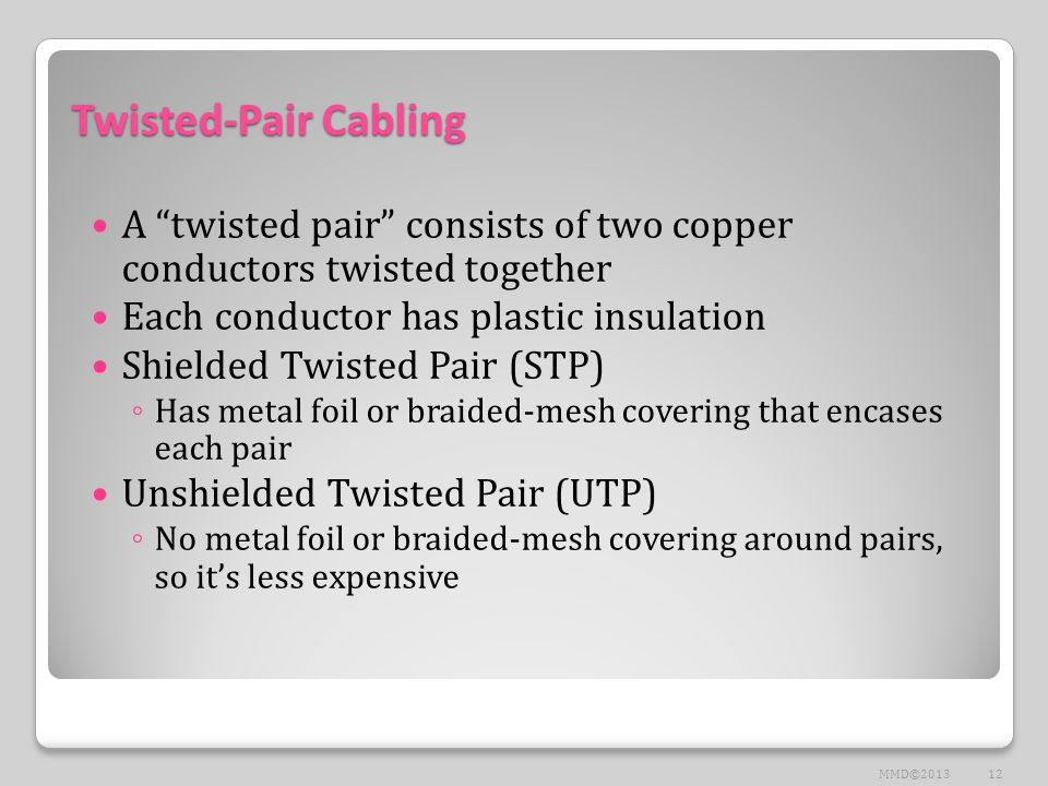 Twisted-Pair Cabling A twisted pair consists of two copper conductors twisted together Each conductor has plastic insulation Shielded Twisted Pair (STP) ◦ Has metal foil or braided-mesh covering that encases each pair Unshielded Twisted Pair (UTP) ◦ No metal foil or braided-mesh covering around pairs, so it's less expensive 12MMD©2013
