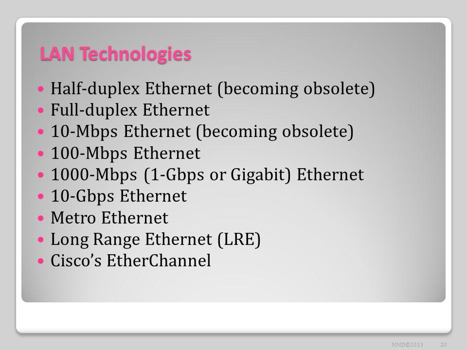 LAN Technologies Half-duplex Ethernet (becoming obsolete) Full-duplex Ethernet 10-Mbps Ethernet (becoming obsolete) 100-Mbps Ethernet 1000-Mbps (1-Gbps or Gigabit) Ethernet 10-Gbps Ethernet Metro Ethernet Long Range Ethernet (LRE) Cisco's EtherChannel 20MMD©2013