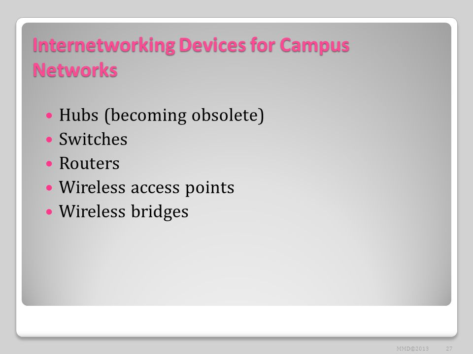 Internetworking Devices for Campus Networks Hubs (becoming obsolete) Switches Routers Wireless access points Wireless bridges 27MMD©2013