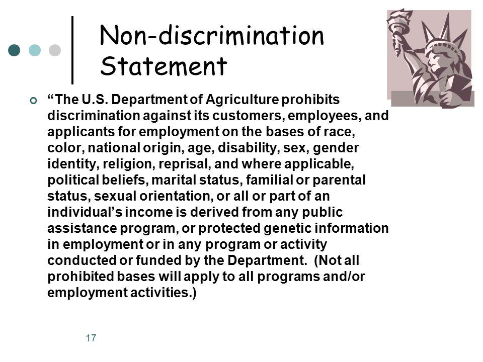 17 Non-discrimination Statement The U.S.
