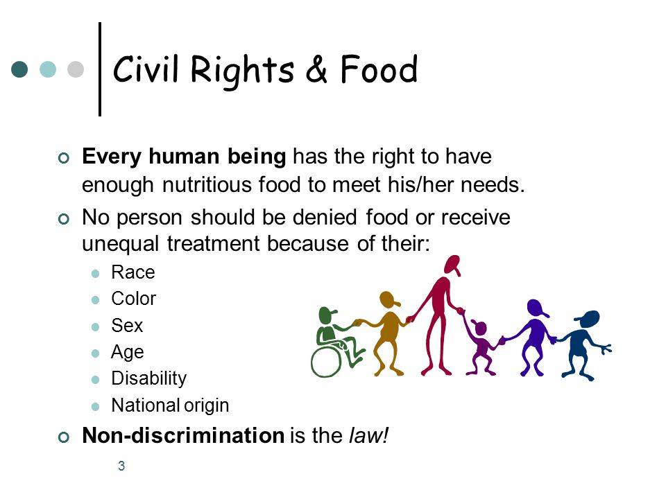 3 Civil Rights & Food Every human being has the right to have enough nutritious food to meet his/her needs.