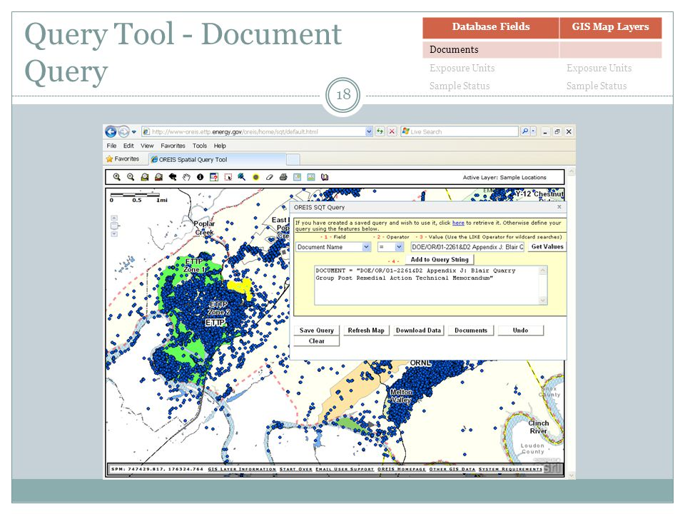 Query Tool - Document Query Database FieldsGIS Map Layers Documents Exposure Units Sample Status 18