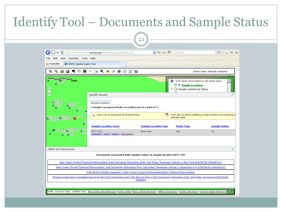 Identify Tool – Documents and Sample Status 21