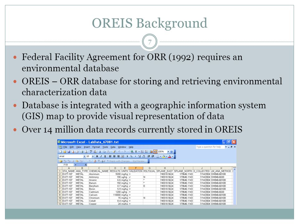 OREIS Spatial Query Tool (SQT) Data Queries Identify tool Query tool Geospatial data Map layer list 8