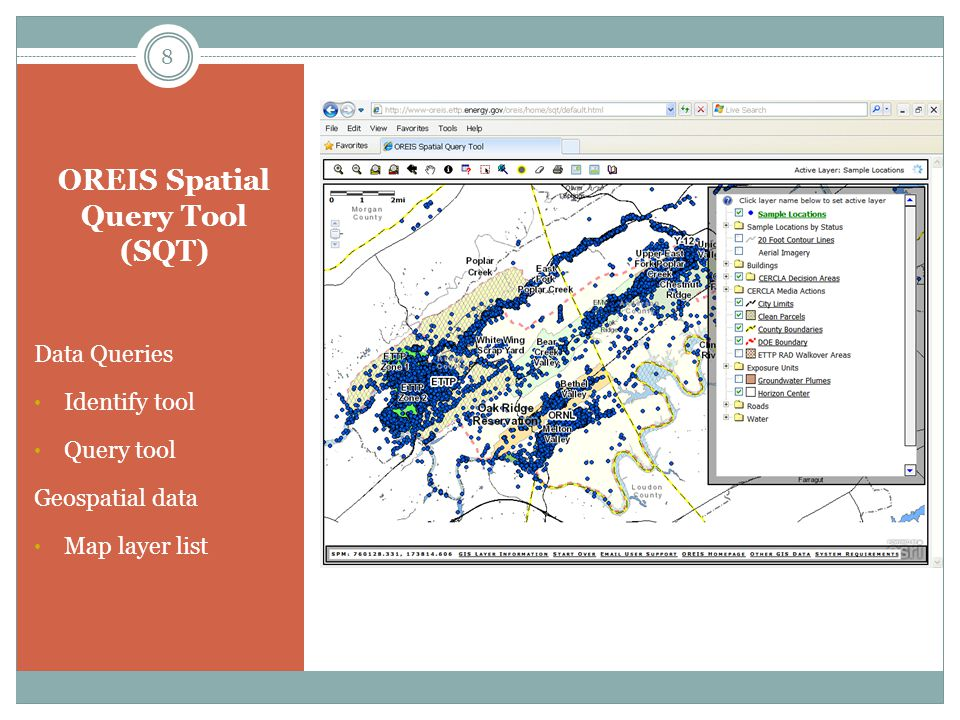 Query Tool – Exposure Unit Query Database FieldsGIS Map Layers Documents Exposure Units Sample Status 19