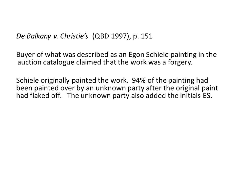 De Balkany v. Christie's (QBD 1997), p.
