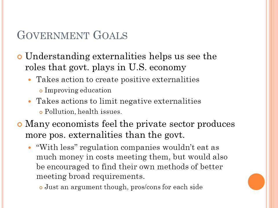 G OVERNMENT G OALS Understanding externalities helps us see the roles that govt.