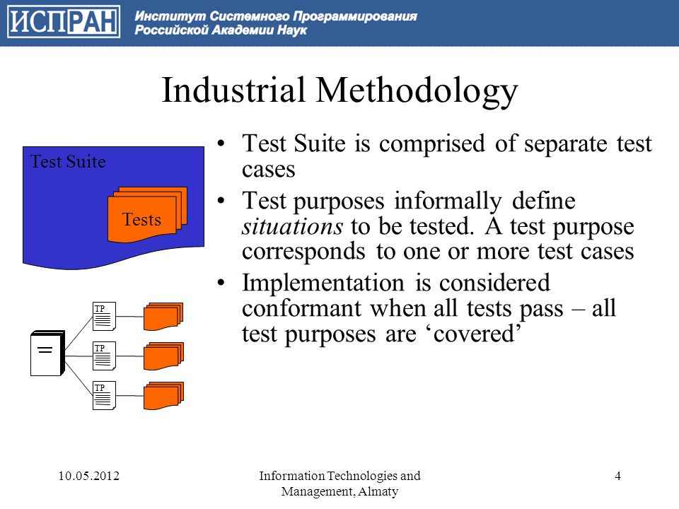 Industrial Methodology Test Suite is comprised of separate test cases Test purposes informally define situations to be tested.