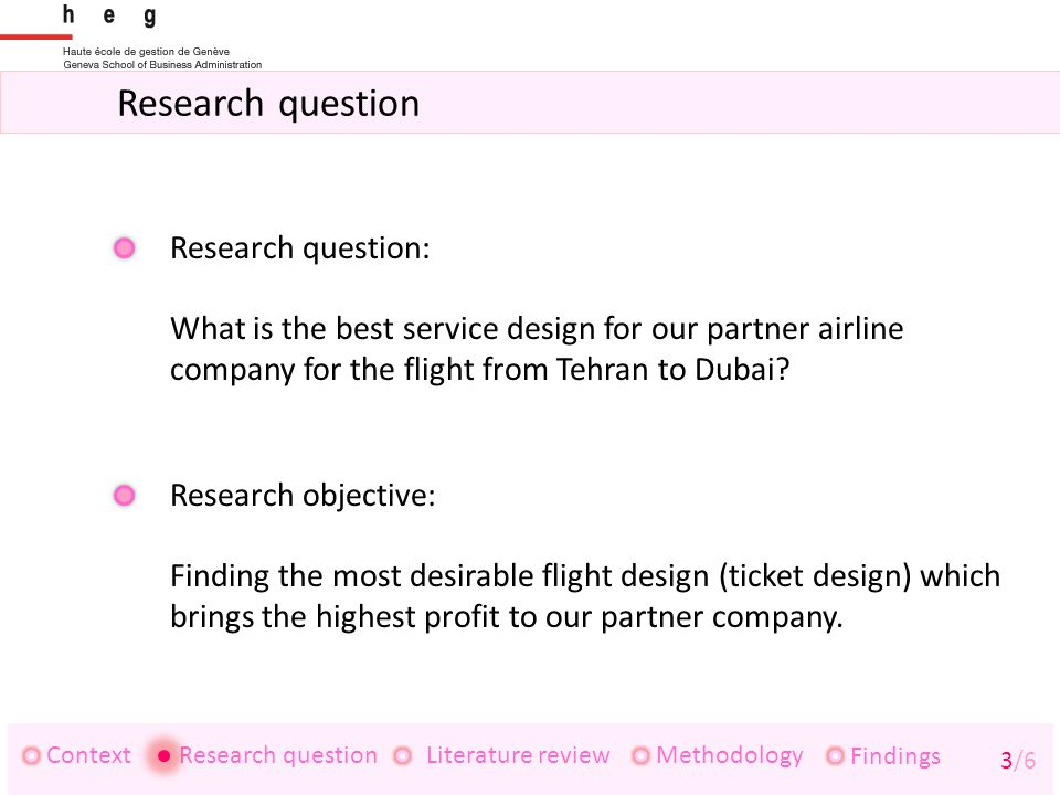 Research question ContextResearch questionLiterature review Findings 3/6 Methodology Research question: What is the best service design for our partner airline company for the flight from Tehran to Dubai.