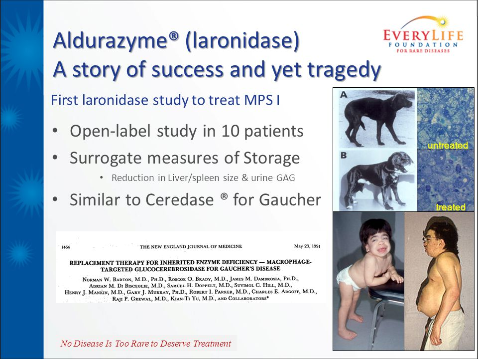 No Disease Is Too Rare to Deserve Treatment First laronidase study to treat MPS I Open-label study in 10 patients Surrogate measures of Storage Reduct