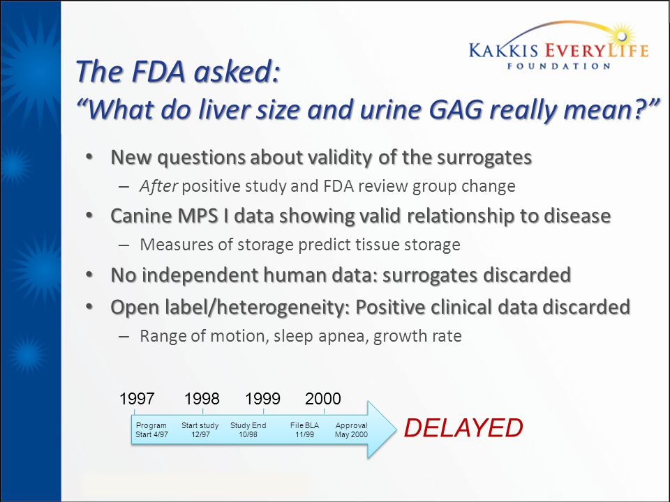 "The FDA asked: ""What do liver size and urine GAG really mean?"" New questions about validity of the surrogates New questions about validity of the surr"