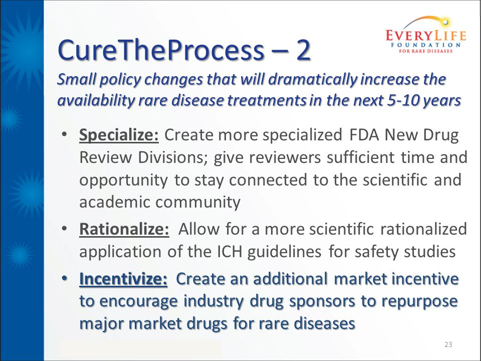 CureTheProcess – 2 Small policy changes that will dramatically increase the availability rare disease treatments in the next 5-10 years Specialize: Cr