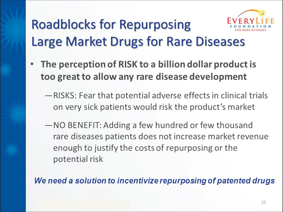 Roadblocks for Repurposing Large Market Drugs for Rare Diseases The perception of RISK to a billion dollar product is too great to allow any rare dise