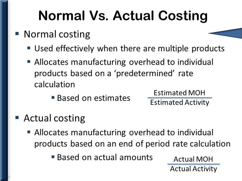 3 Normal Vs. Actual Costing  Normal costing  Used effectively when there are multiple products  Allocates manufacturing overhead to individual prod