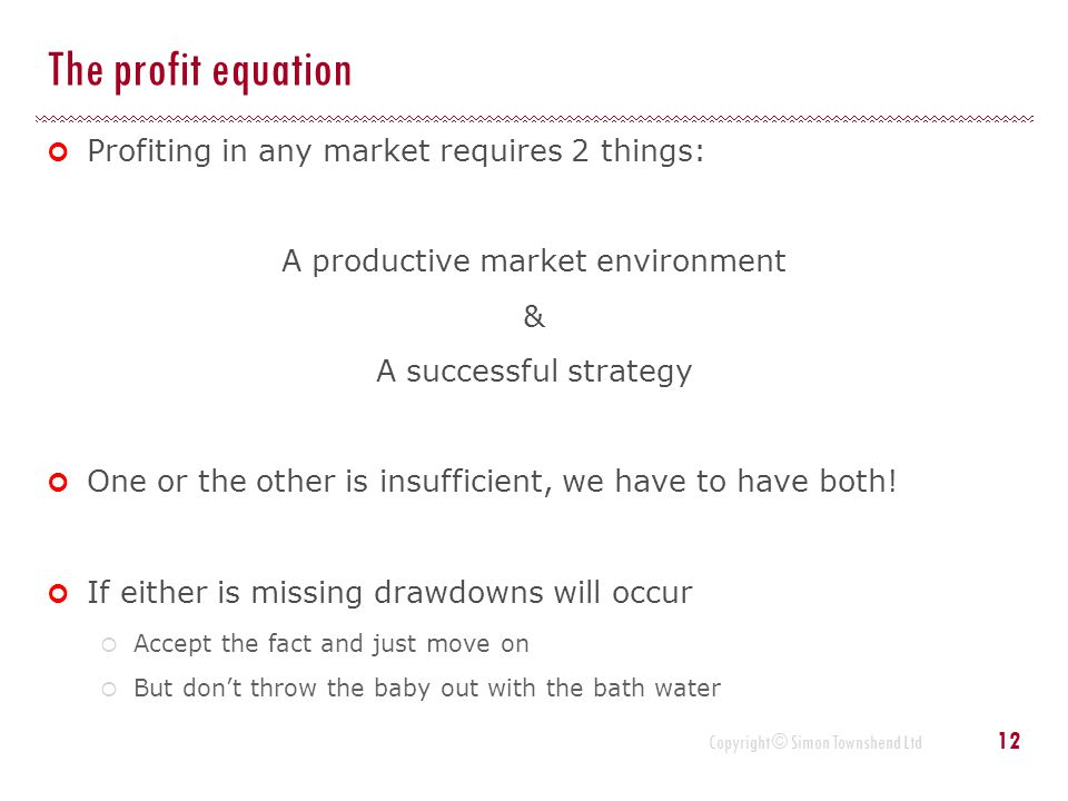 Copyright © Simon Townshend Ltd The profit equation Profiting in any market requires 2 things: A productive market environment & A successful strategy