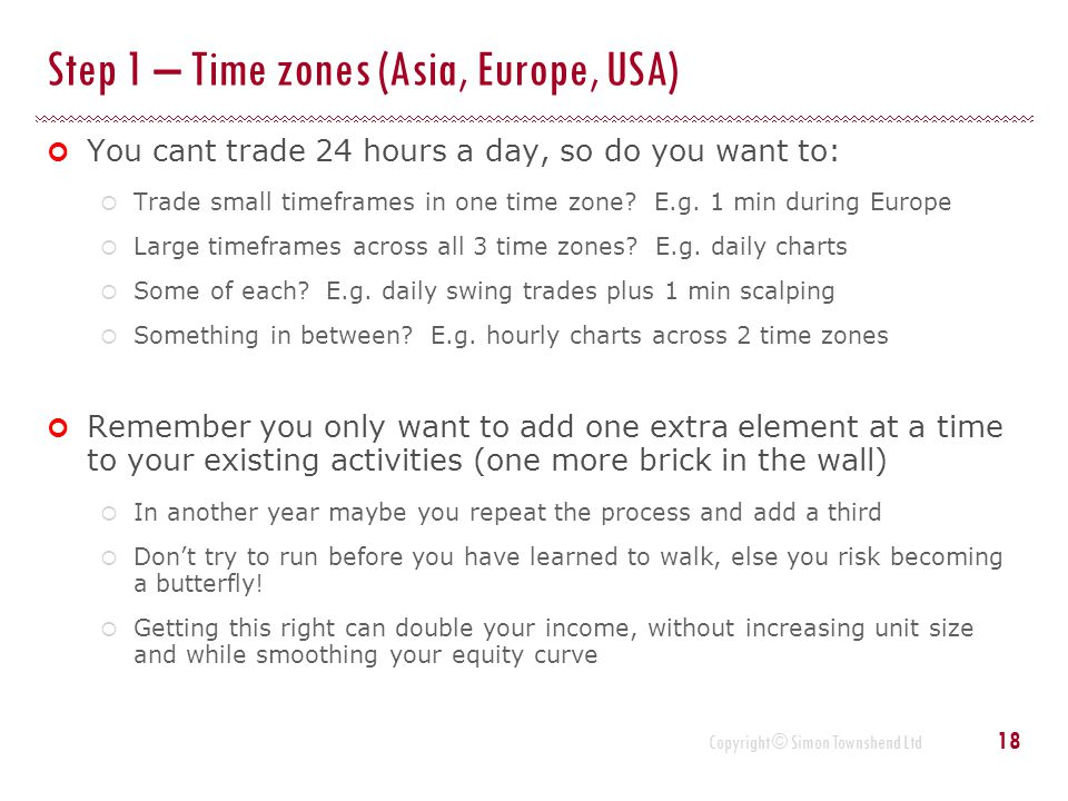 Copyright © Simon Townshend Ltd Step 1 – Time zones (Asia, Europe, USA) You cant trade 24 hours a day, so do you want to:  Trade small timeframes in