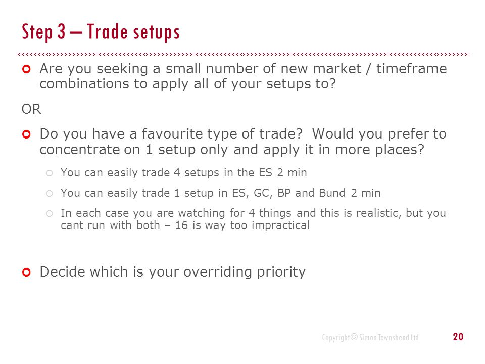 Copyright © Simon Townshend Ltd Step 3 – Trade setups Are you seeking a small number of new market / timeframe combinations to apply all of your setup