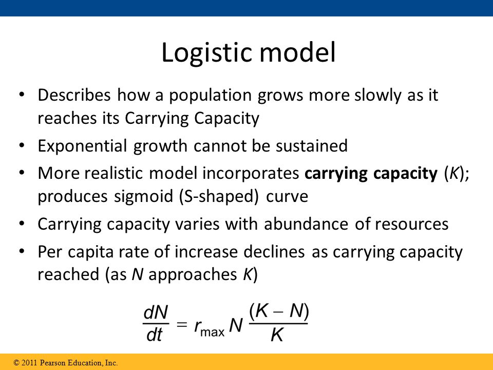 Logistic model Describes how a population grows more slowly as it reaches its Carrying Capacity Exponential growth cannot be sustained More realistic