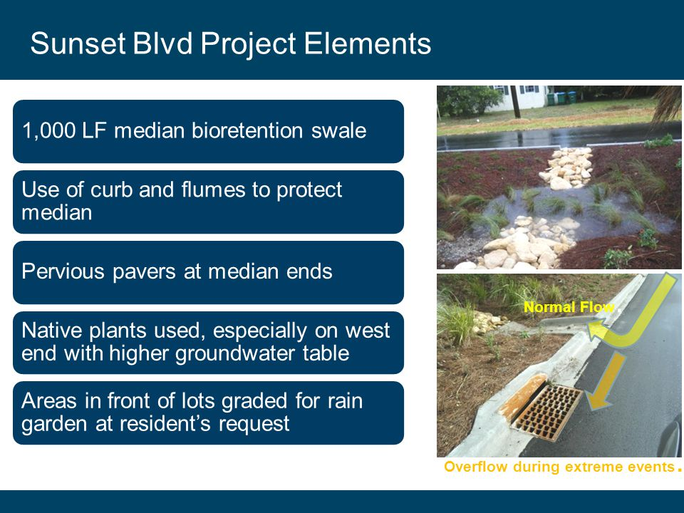Click to edit section Sunset Blvd Project Elements 1,000 LF median bioretention swale Use of curb and flumes to protect median Pervious pavers at median ends Native plants used, especially on west end with higher groundwater table Areas in front of lots graded for rain garden at resident's request Normal Flow.